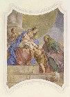 Stropna slika - Obisk Janeza Krstnika in tete Elizabete pri Sv. Družini