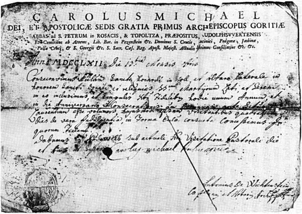 Dokument o posvetitvi prejšnje colske cerkve leta 1761.