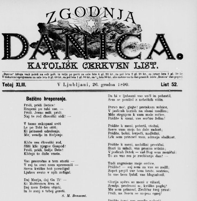 Naslovnica katoliškega lista Zgodnja Danica